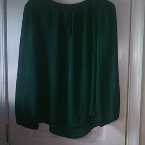 Women dark green top blouse